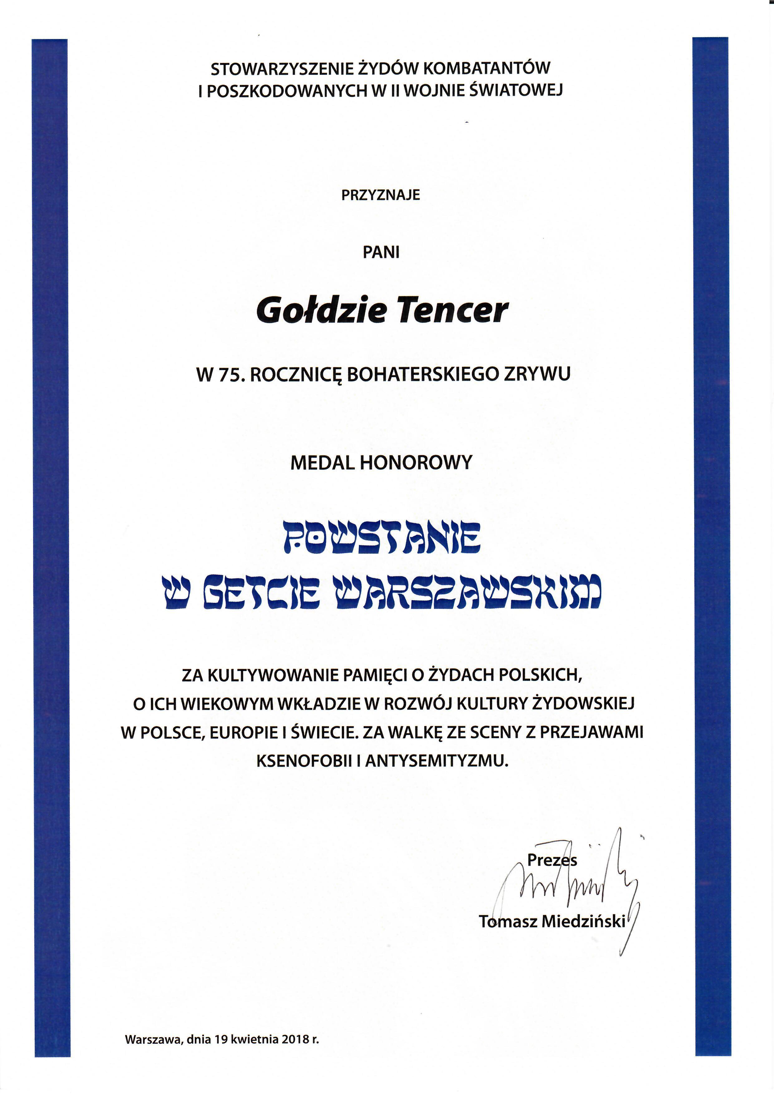 Dyplom Kombatanci Pani Dyrektor